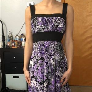 Purple and black floral print dress